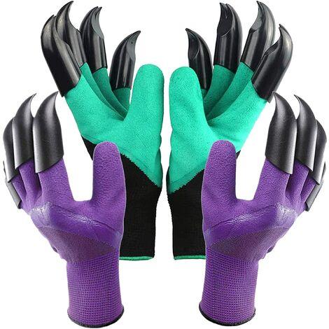 Gants de jardinage, 2 paires de gants de jardin pour femmes résistant aux épines avec griffes Grands gants de creusement pour dames et hommes imperméables pour creuser en plein air Jardinage Plantation