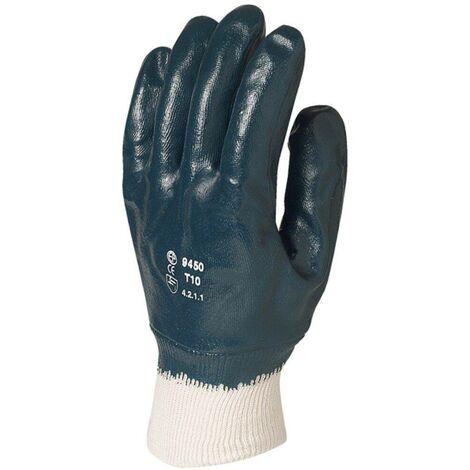 Gants de manutention enduit nitrile Eurotechnique 9450 (lot de 10 paires de gants) Bleu