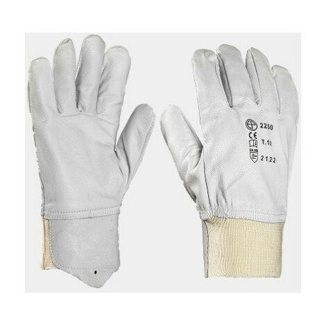 Gants de protection cuir de chèvre Eurotechnique avec protège-artère 2250 (lot de 10 paires de gants) Blanc