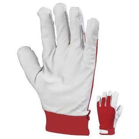 Gants de protection Eurotechnique Maîtrise bicolore (lot de 12) Blanc / Rouge