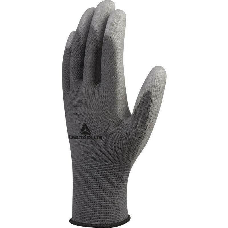 Gant tricot plyamide - gris - paume enduit PU - La paire T10