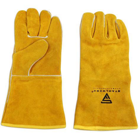 Gants de soudage STAHLWERK en cuir véritable résistant à la chaleur et à l'usure, fabrication de haute qualité, bon ajustement