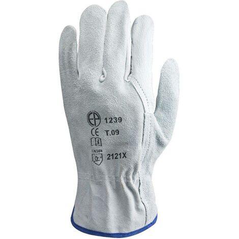 """main image of """"Gants de travail en cuir de buffle Eurotechnique 1240 (lot de 10 paires de gants) Blanc 10"""""""