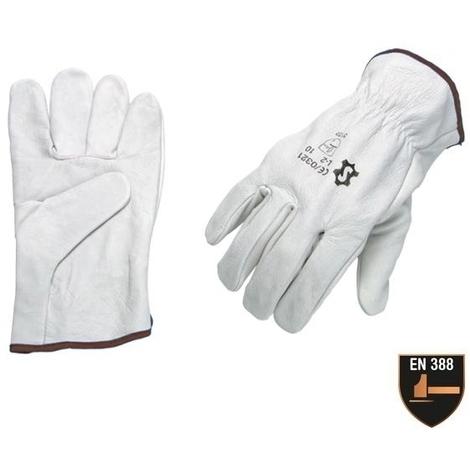 Gants de travail en cuir de buffle Eurotechnique 1240 (lot de 10 paires de gants) Blanc