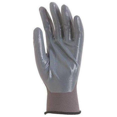 Gants de travail précision Polyamide enduit nitrile Eurotechnique 6230 (lot de 10 paires de gants) Gris
