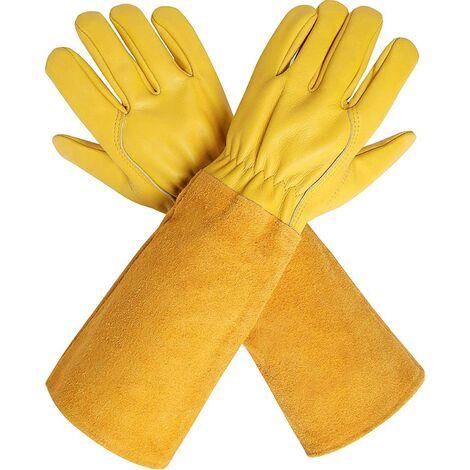 Gants d'élagage avec manches extra longues en cuir de vache pour homme et femme, gants de jardinage en cuir de chèvre respirant résistant aux épines pour jardinier et agriculteur Small jaune M