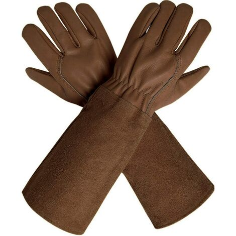 Gants d'élagage avec manches extra longues en cuir de vache pour homme et femme, gants de jardinage en cuir de chèvre respirant résistant aux épines pour jardinier et agriculteur Small marron