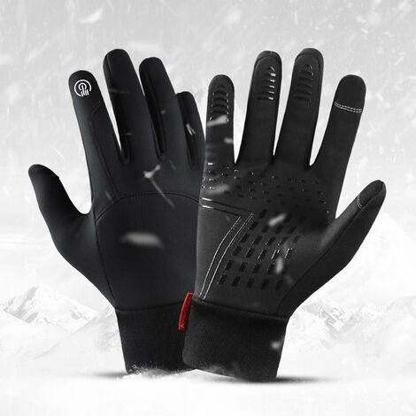 Gants D'Exterieur D'Hiver Chauds Et Velours Coupe-Vent Et Impermeables Ecran Tactile A Deux Doigts, Noir Taille Xl