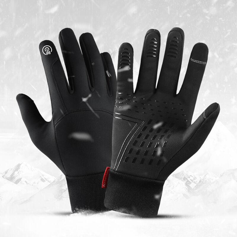 Gants D'Exterieur Hiver Chauds Et Velours Coupe-Vent Et Impermeables Ecran Tactile A Deux Doigts, Noir Taille M