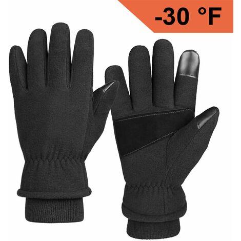 Gants d'hiver Gant thermique de travail de neige résistant au froid pour femmes et hommes Noir L