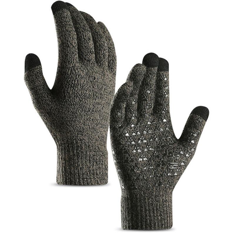 Gants d'hiver pour hommes et femmes a ecran tactile anti-derapant en gel de silicone manchette elastique thermique en tricot doux materiau