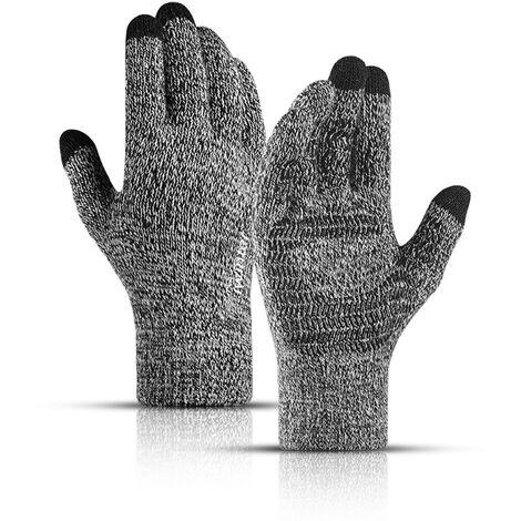 Gants d'hiver pour hommes et femmes ¨¤ ¨¦cran tactile anti-d¨¦rapant en gel de silicone manchette ¨¦lastique thermique en tricot doux mat¨¦riau extensible