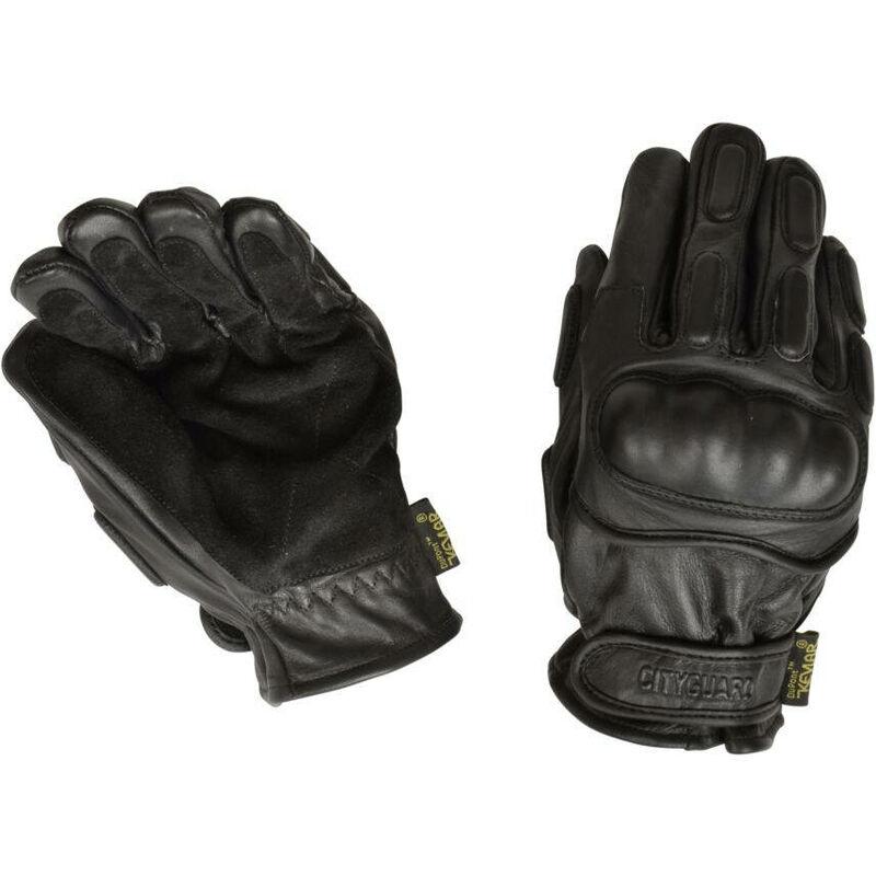 Gants d'intervention tout cuir coqués et kevlar CityGuard Noir L