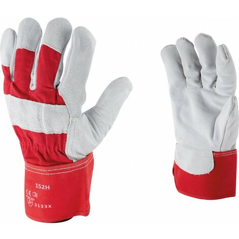 Gants docker de protection cuir croûte de vachette Outibat - Taille 10 - Vendu par 10 - Rouge et gris
