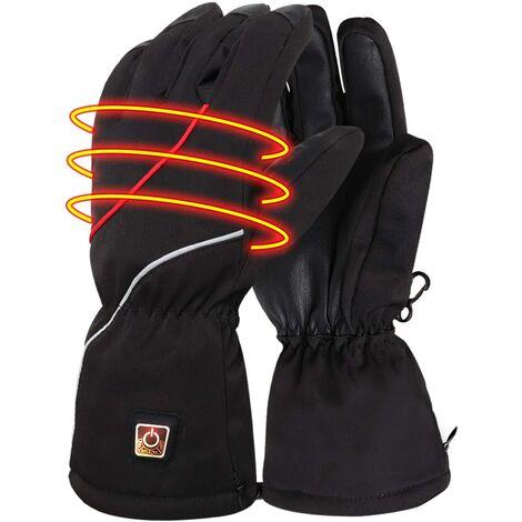 Gants électriques d'hiver gants chauds avec batterie rechargeable pour hommes femmes coupe-vent isolé gants thermiques pour moto randonnée ski cyclisme chauffe-mains, taille XL