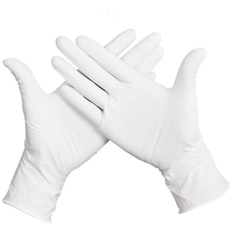 Gants En Caoutchouc Jetables, Xl, 50 Pcs, Blanc