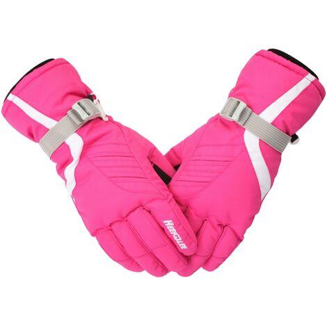 Gants Epaissis Froids Et Chauds Pour Femmes, Gants De Ski Outdoor, Rose Rouge