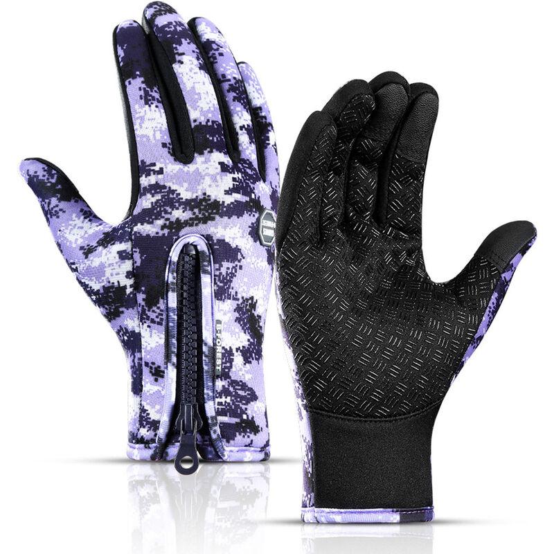 Asupermall - Gants Impermeables D'Exterieur, Gants De Ski D'Alpinisme En Polaire Chaude Et Coupe-Vent A Glissiere, Camouflage Violet Taille L