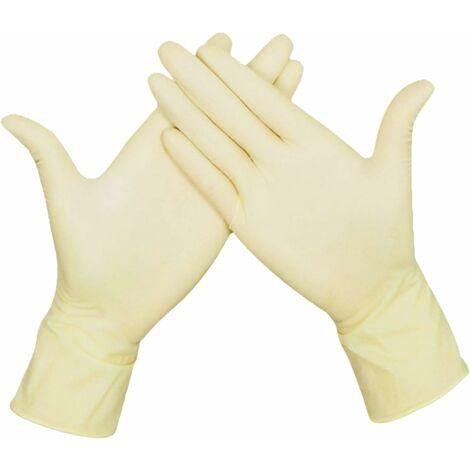 Gants jetables Latex laiteux et sans poudre pour la transformation des aliments Nettoyage domestique Utilisation Jardinage Paquet de 20 pièces (50paires/M) Taille moyenne