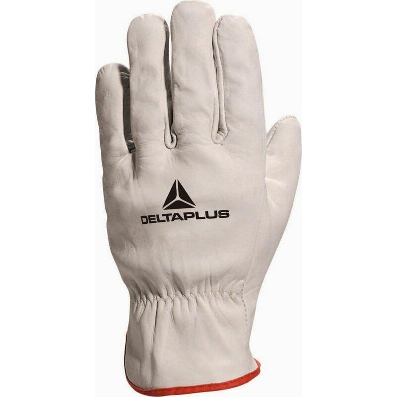 GANT TOUT FLEUR DE BOVIN GRIS LISERE ROUGE -FBN490 - Taille gants - T11 - Beige - Delta Plus