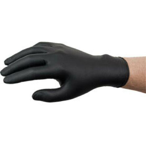 Gants nitrile jetables noirs non poudres T7-8 boite de 100 - taille M