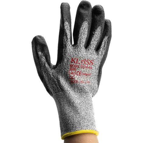 Gants Noir, gris, Résistant aux coupures, taille 10