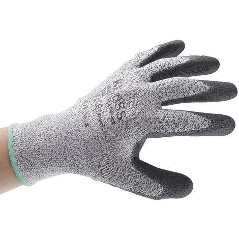 Gants Noir, gris, Résistant aux coupures, taille 8