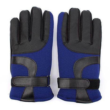 Gants thermiques en flanelle chaude imperméable coupe-vent vélo ski randonnée moto bleu