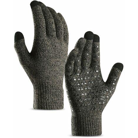 Gants Tricotes Pour Hommes Et Femmes, Ecran Tactile Gants De Manchette Elastique En Silicone Antiderapant, Gris