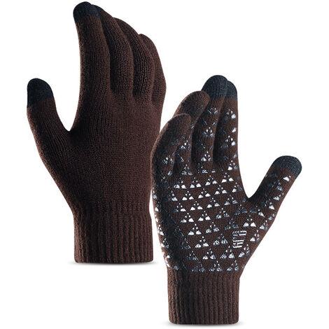 Gants Tricotes Pour Hommes Et Femmes, Ecran Tactile Gants De Manchette Elastique En Silicone Antiderapant, Marron