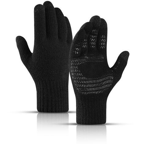 Gants Tricotes Pour Hommes Et Femmes, Gants De Manchette Elastiques En Silicone Antiderapants A Ecran Tactile, 01 Noir