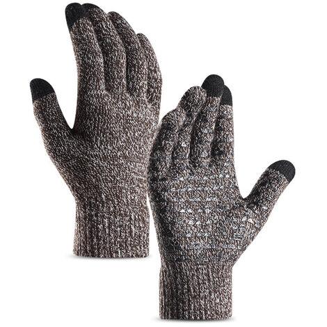 Gants Tricotes Pour Hommes Et Femmes, Gants De Manchette Elastiques En Silicone Antiderapants A Ecran Tactile, Blanc Cafe