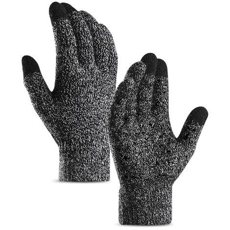 Gants Tricotes Pour Hommes Et Femmes, Gants De Manchette Elastiques En Silicone Antiderapants A Ecran Tactile, Noir Et Blanc