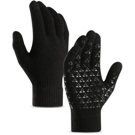 Gants Tricotes Pour Hommes Et Femmes, Gants De Manchette Elastiques En Silicone Antiderapants A Ecran Tactile, Noirs