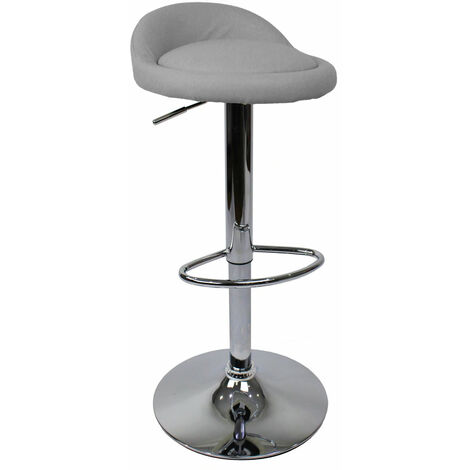 Gaor Adjustable, Grey Breakfast Bar Stool - Faux Leather, Padded Swivel Seat