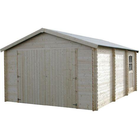 Garage Casetta Legno 386x518 34mm Block House Porta Doppia Porta Box Posto Auto