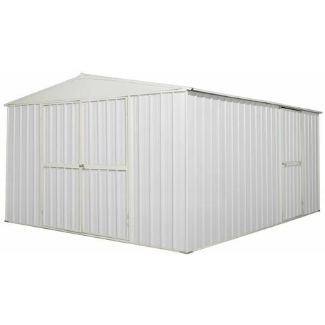 Garage deposito lamiera Box in Acciaio Zincato 360x430cm x h2.10m - 185KG - 15mq - BIANCO