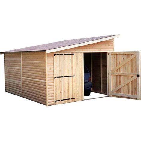 Garage en bois avec porte double 1 pente Kompact 4 m - Naturel