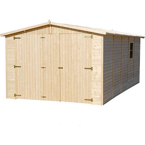 GARAGE en Bois Naturel - Chalet en Pin/épicéa- H222x516x324 cm/15 m² - Construction de Panneaux- Atelier de jardin - Rangement pour vélos, remise à outils-TIMBELA M101