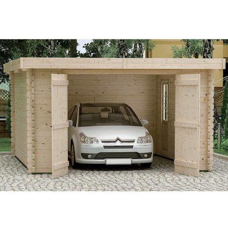 Garage en bois Plum - Madriers 44mm - Double Entaillage des Madriers et Tige Filetée - Porte D'accès Arrière Vitrée Supplémentaire - Toiture Revêtement Feutre Bitumeux - 398 x 548 x H.236 cm/21.81m²