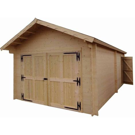 Garage Madriers bois massif double rainurage - 60 mm - surface utile : 18,97 m2