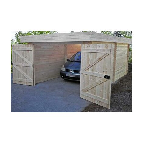 Garage Madriers bois massif toit plat avec bac acier 21,46 m2