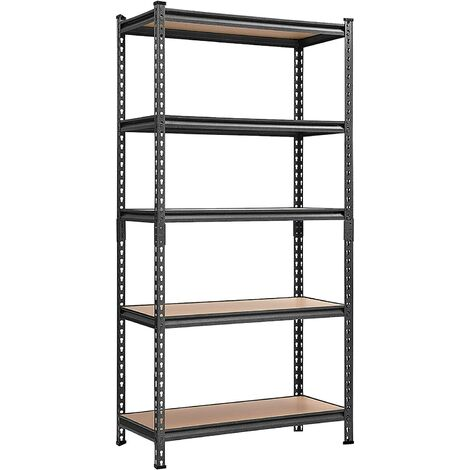 Garage Racking 5-Tier Shelving, 180 x 90 x 40cm, 875kg(175KG per Shelf) Capacity, Heavy-Duty Boltless Racking with MDF