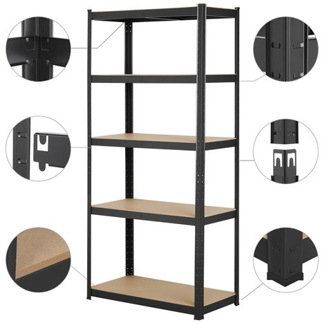 Garage Shelving Units - 5 Tier Heavy Duty Storage Shelves Metal Shed Utility Racking,180cm x 90cm x 40cm,175KG Per Shelf