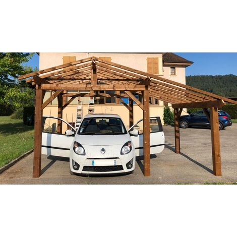 Garage Voiture en bois | 3.7 x 4.5 - 17.2 m² - 2 pans