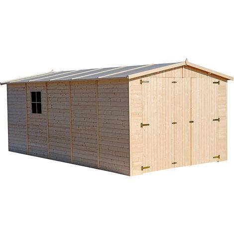 Garage Voiture en Bois Gardiun Mikhail I - 16,78 m² Extérieur 516x324x192/222 cm