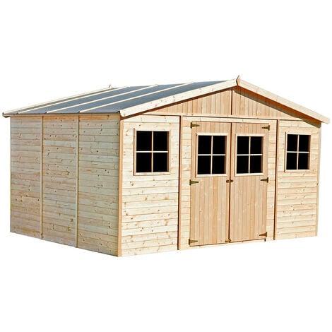 Garage Voiture en Bois Gardiun Vladimir - 13,24 m² Extérieur 320x418x188/246 cm