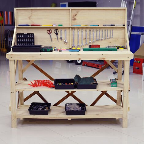 Garage Workshop Work Tool Bench Table with Back Panel, 150x63x145CM