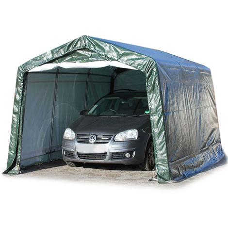 Garagenzelt Weidezelt 3,3 x 4,8 m in grün, Unterstand, Carport -zelt mit stabiler Stahlrohrkonstruktion und 260g/m² Plane