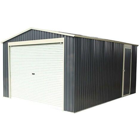 Garaje Metálico Gardiun Essex 19,5 m² Exterior 576x338x243 cm Gris Antracita - KIS12991